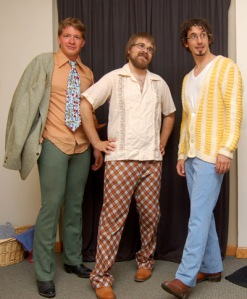 Zack, Kevin and Jonathan show off their outfits.