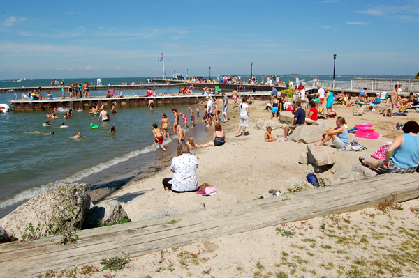 Beach and dock at Lakeside, Ohio by Bruce Stambaugh