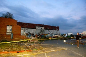 View of damaged OARDC building by Bruce Stambaugh