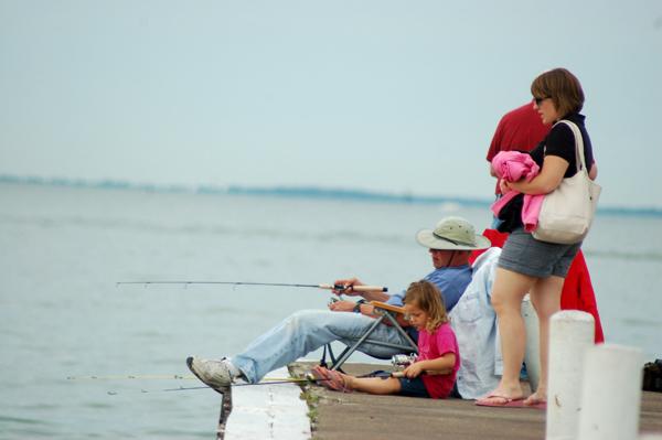 Fishing at Lakeside Ohio by Bruce Stambaugh