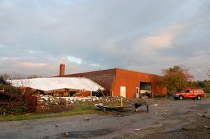 The OARDC's machine shop was heavily damaged by the tornado.
