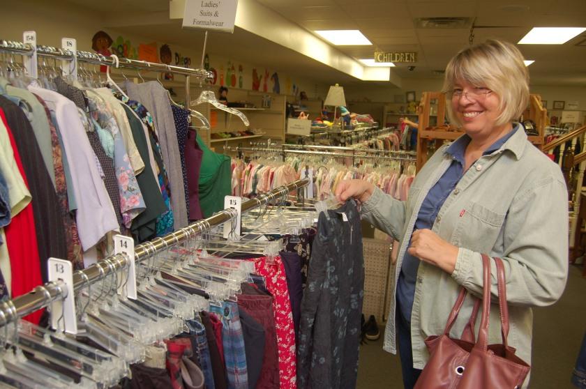 Thrift store shopper by Bruce Stambaugh