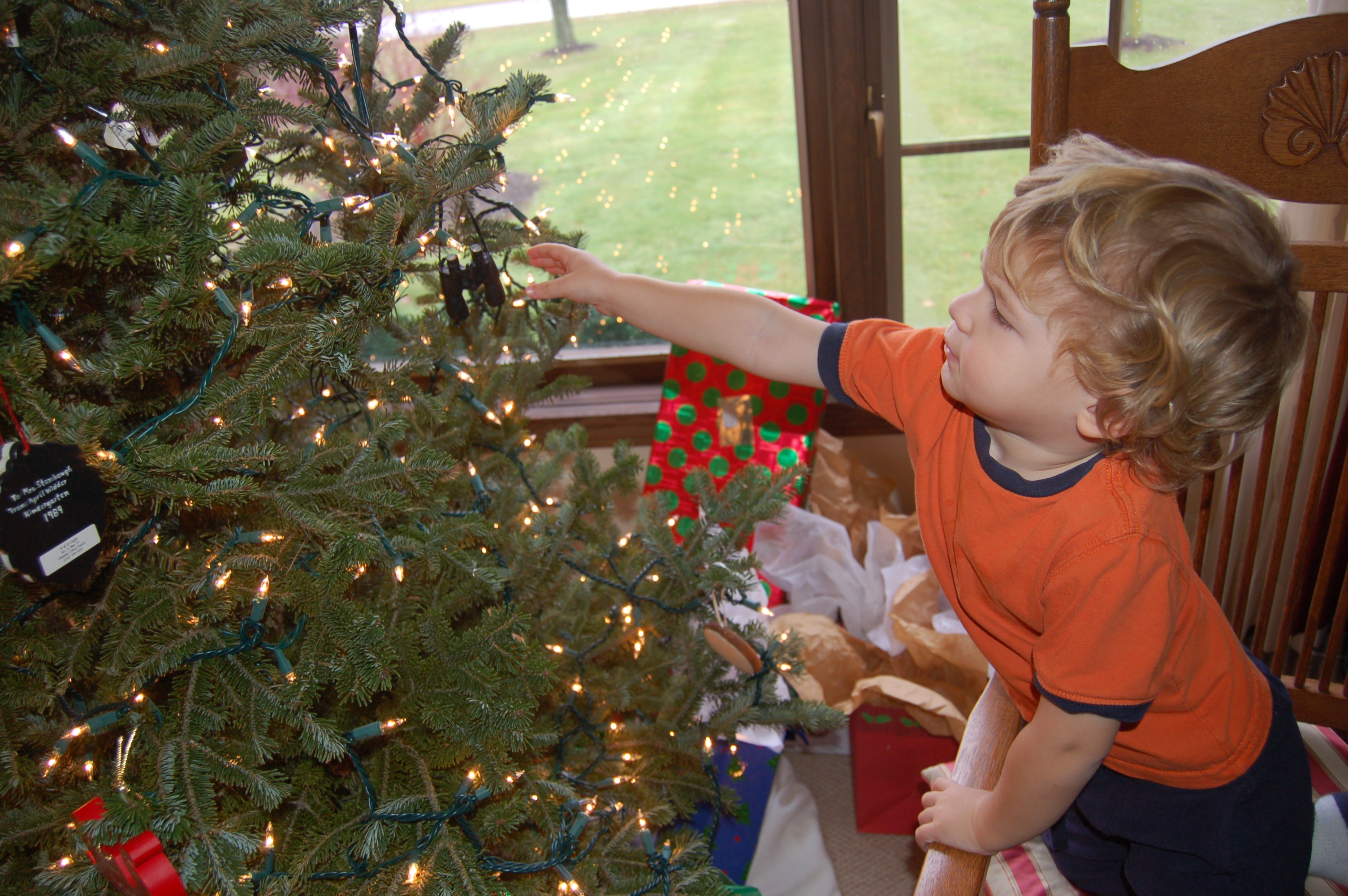 Decorating the tree by Bruce Stambaugh