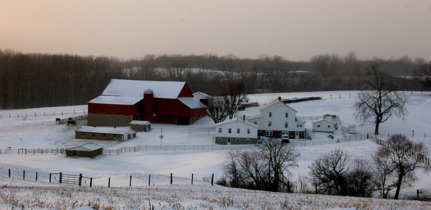 Amish farm in snow by Bruce Stambaugh