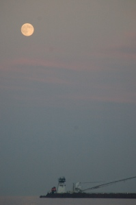 Full moon at Lakeside Ohio by Bruce Stambaugh