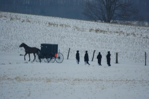 Amish head to church by Bruce Stambaugh