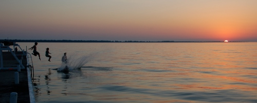 Sunset splash by Bruce Stambaugh