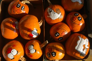 Painted pumpkins by Bruce Stambaugh