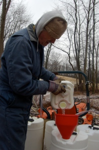 Pouring sap by Bruce Stambaugh