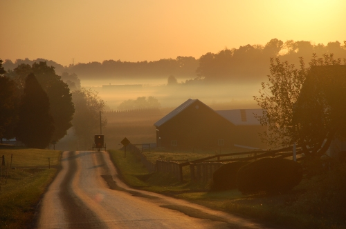 Amish sunrise by Bruce Stambaugh