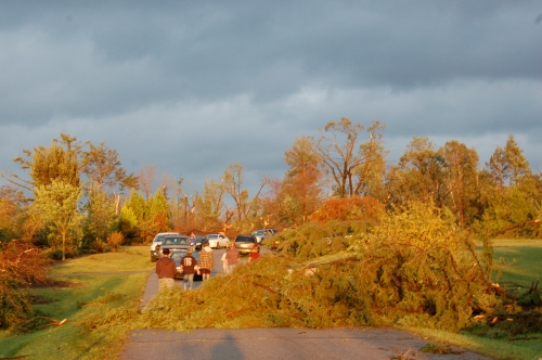 Damage left by an EF2 tornado that hit Wooster, Ohio on Sept. 16, 2010.