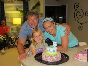birthday party, birthday cake, girl and parents