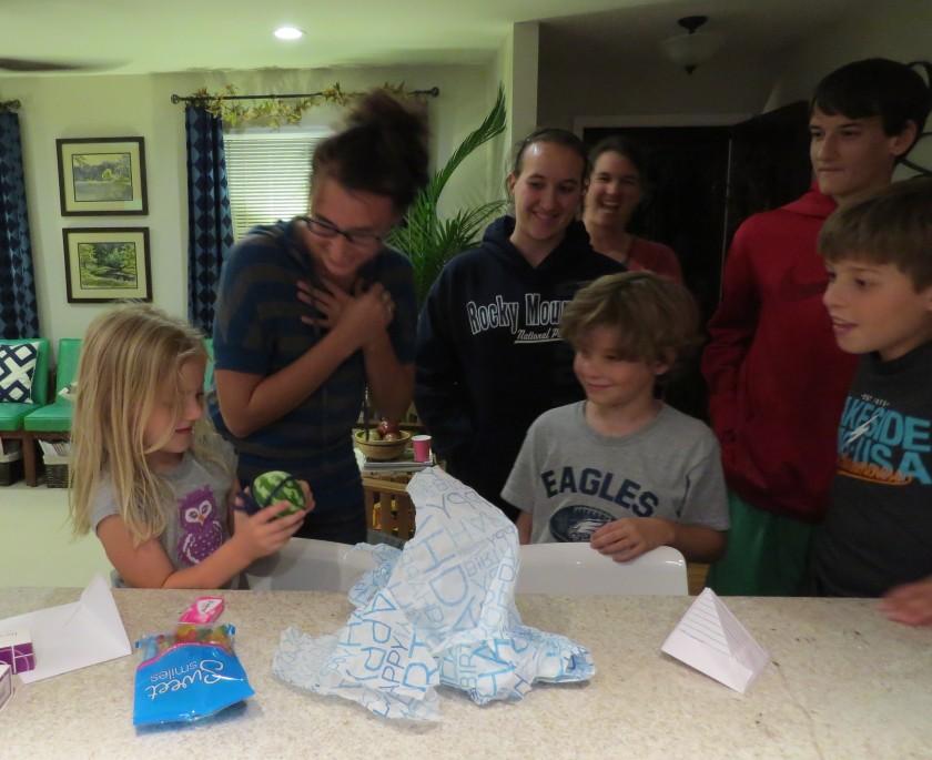 birthday party, watermelon, gift