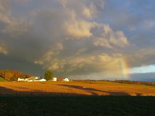 rainbows, morning rainbow, storm clouds, rain, Bruce Stambaugh