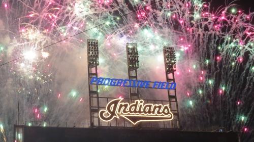 fireworks, baseball, Progressive Field, Cleveland Indians