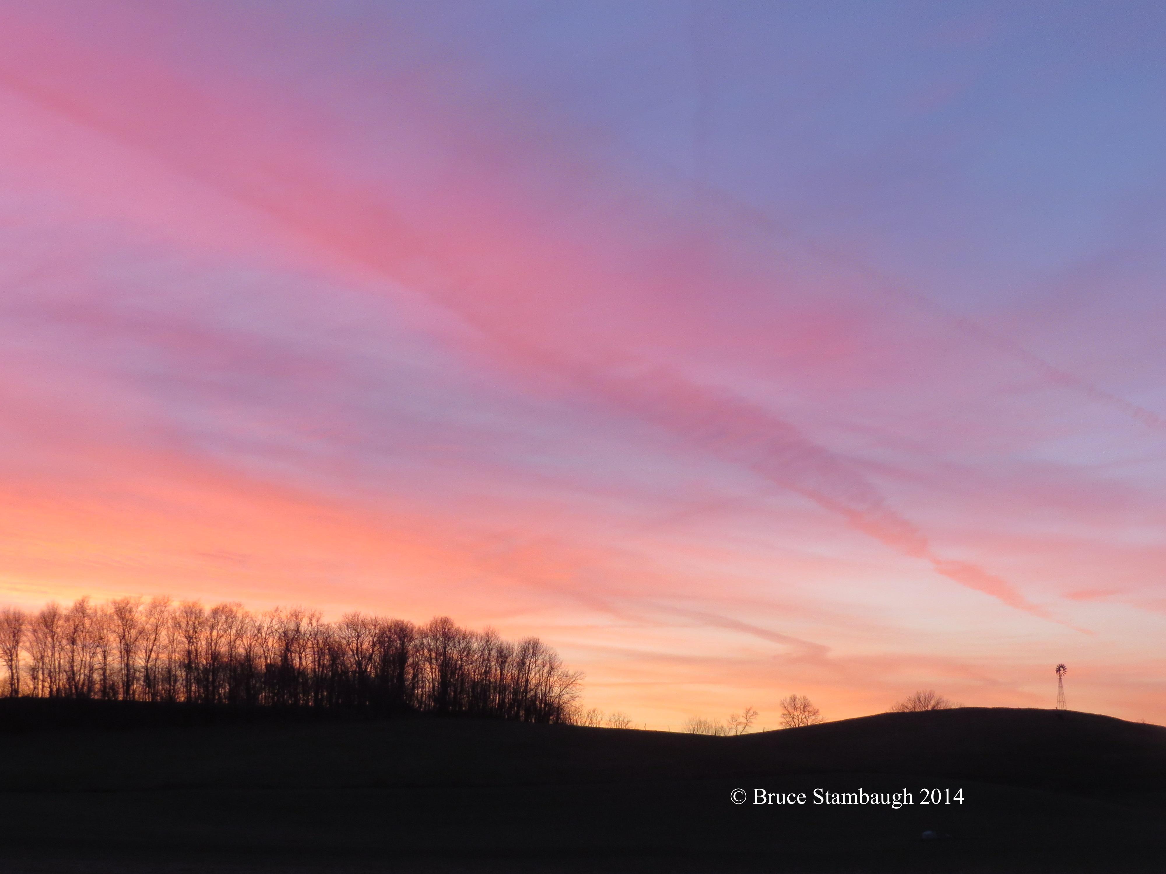 winter sunset, December sunset, Ohio sunset