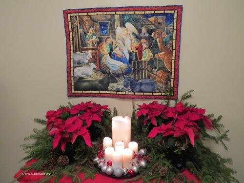 nativity display, nativity scene, quilting, wall hanging