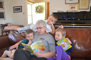 reading, reading to grandkids