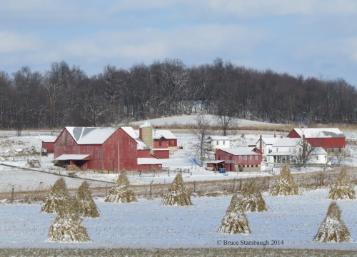 Amish farm in snow, Holmes County Ohio, rural scene, Bruce Stambaugh