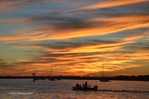 fishing boat, sunset, Florida