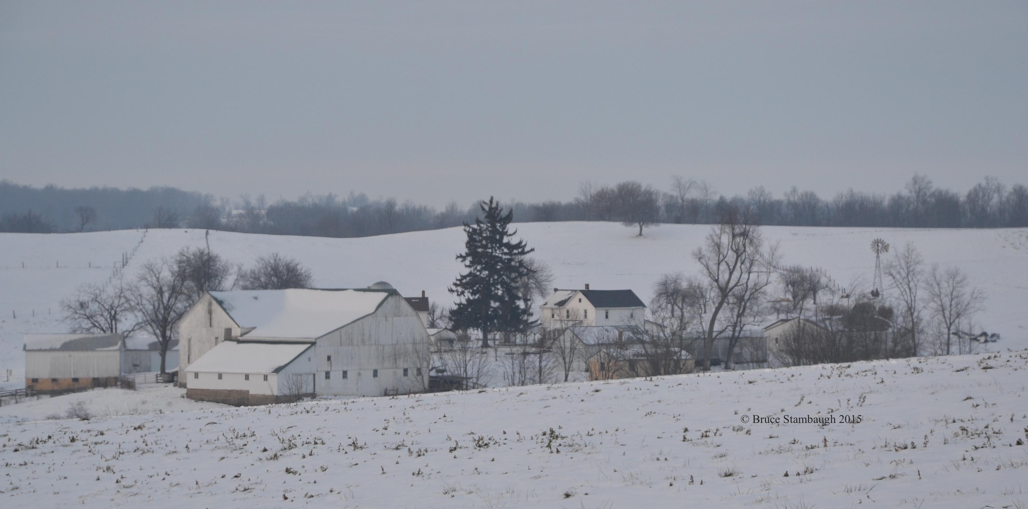 Amish farm, fresh snow, rural landscape