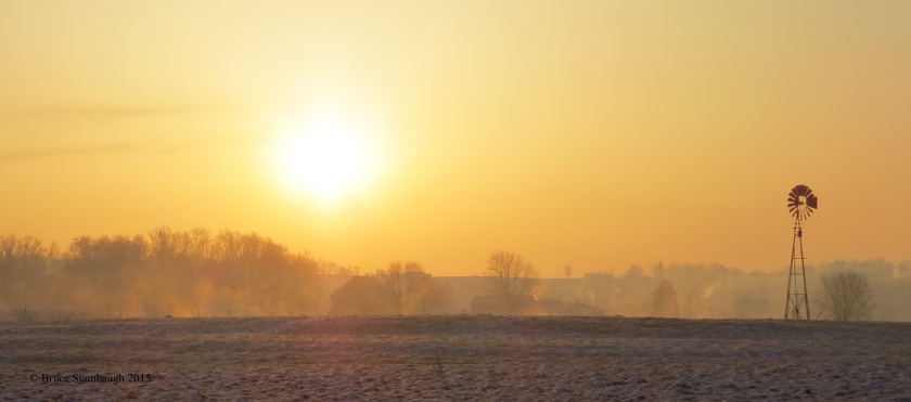 rural sunrise, foggy sunrise