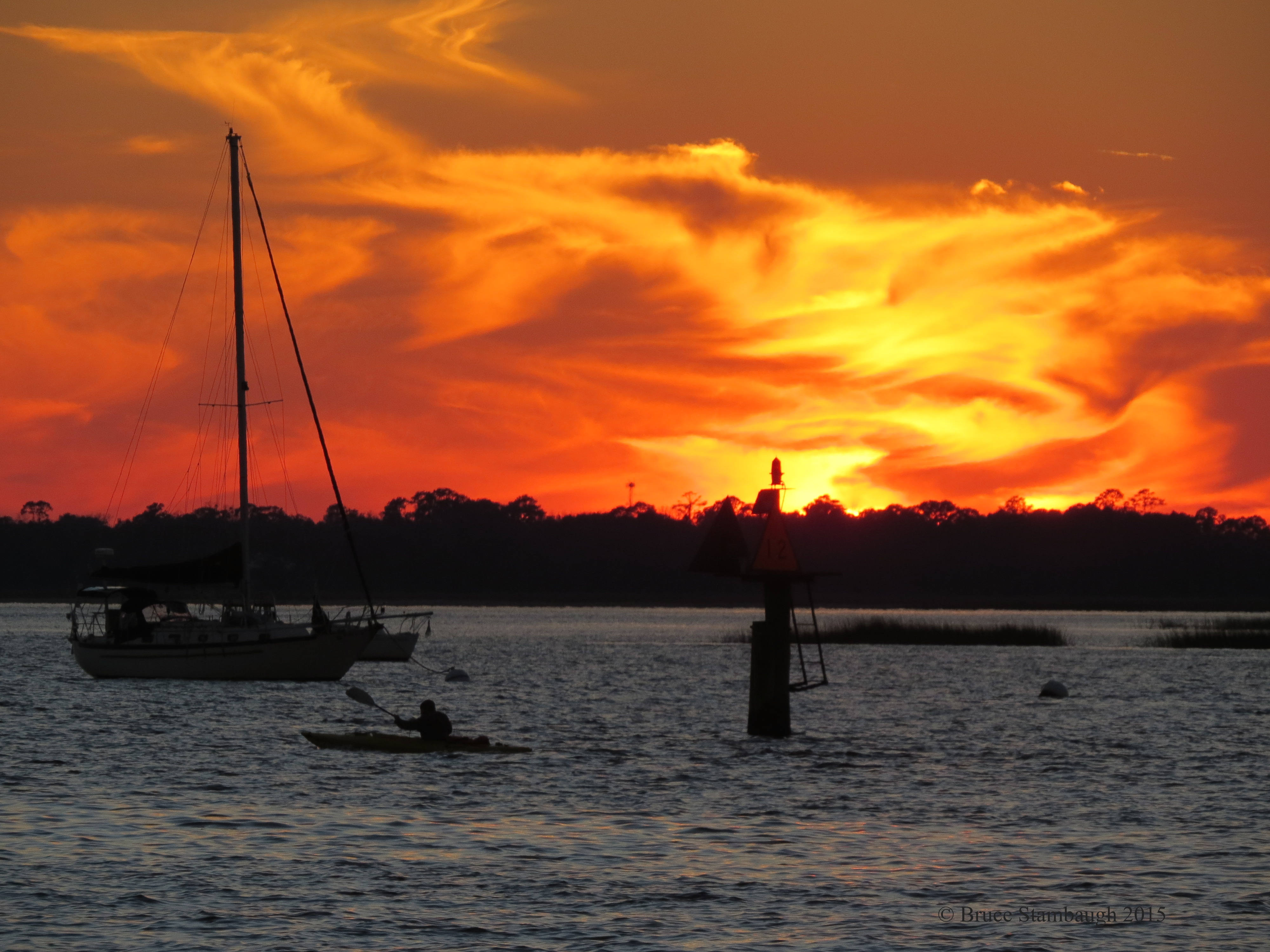 kayak, sunset, Bruce Stambaugh