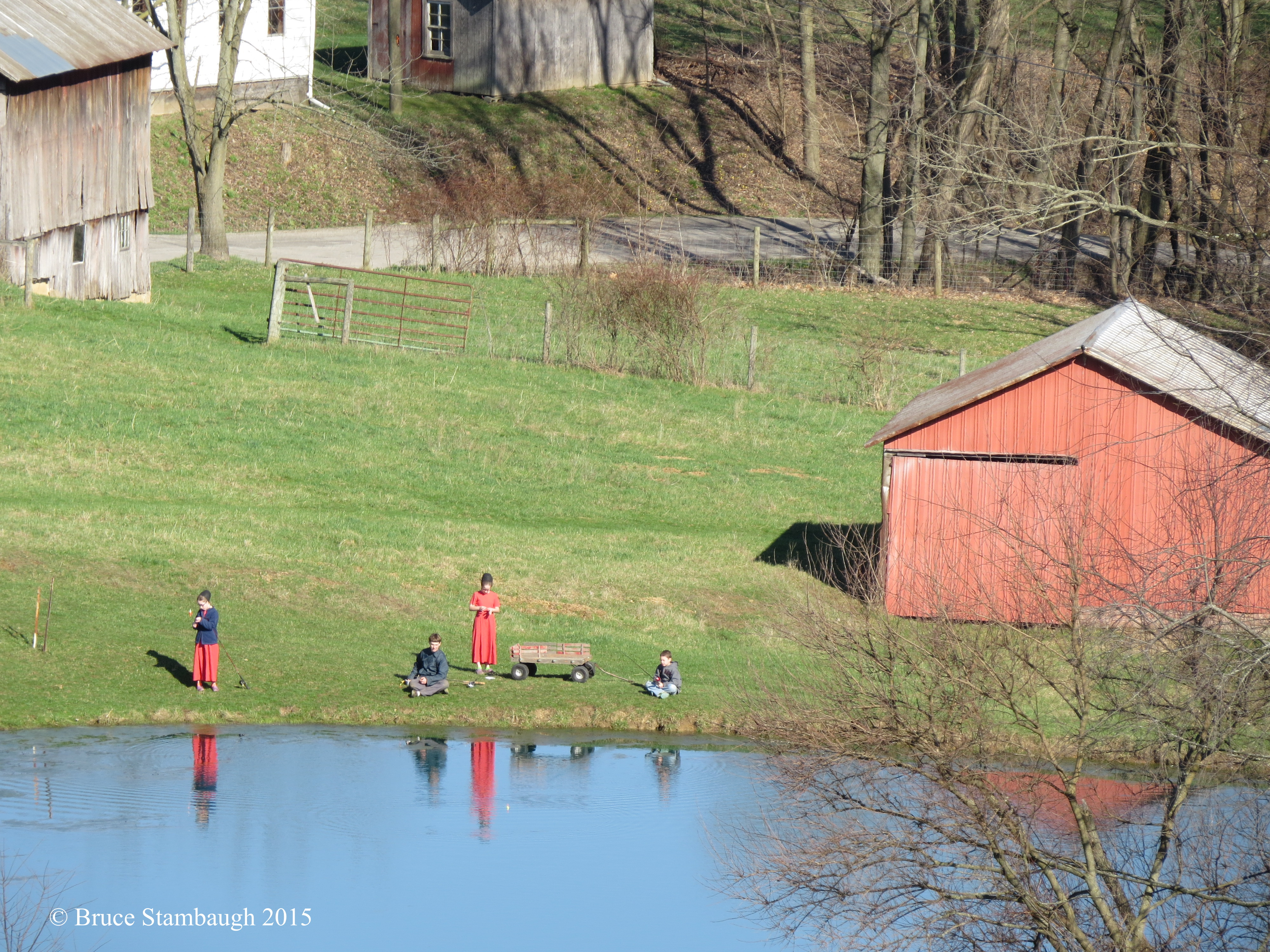 Amish children, fishing, pond