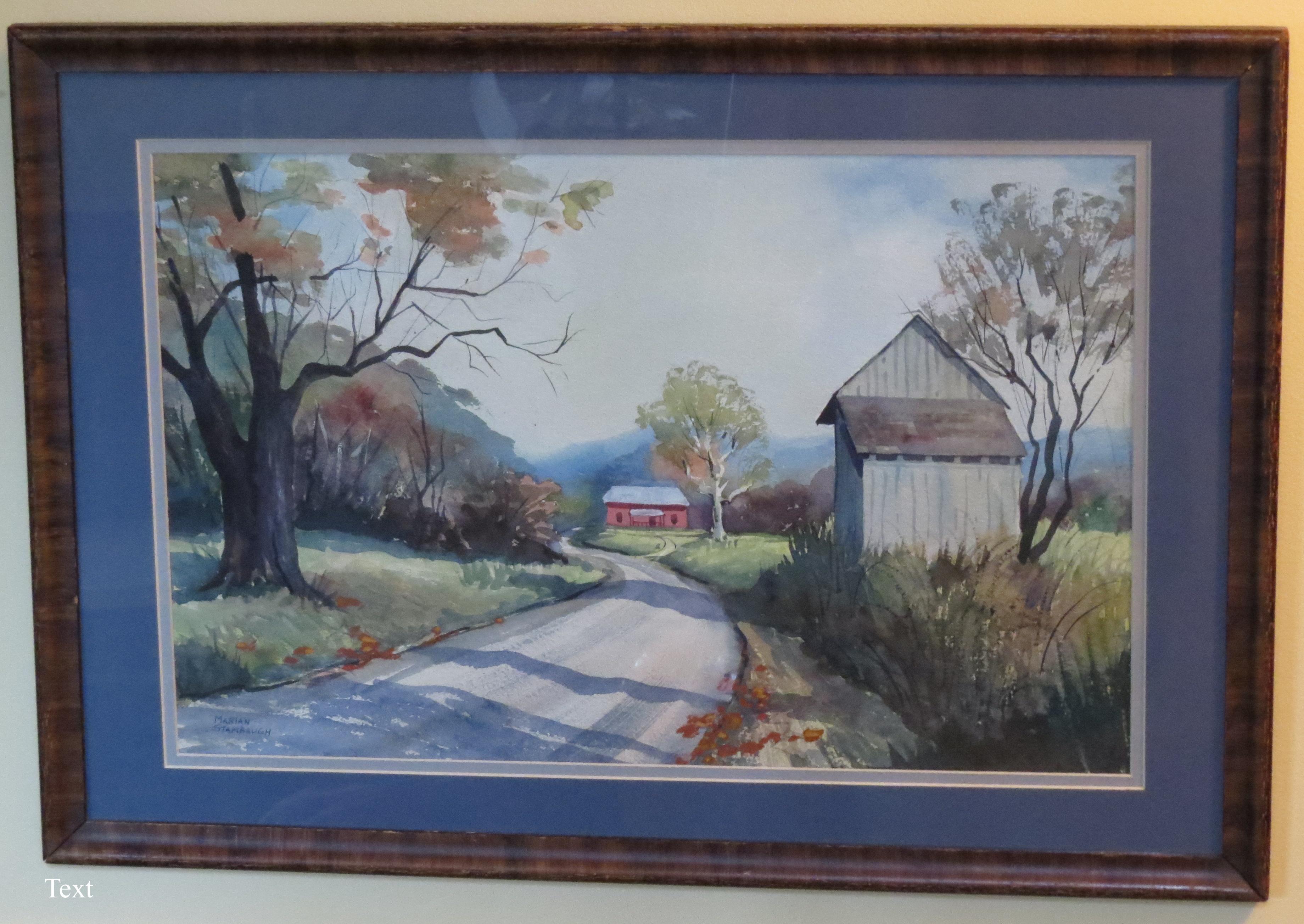 landscape painting, rural road