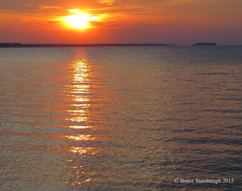 sunset, reflections