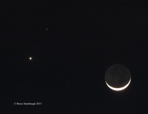 sliver moon, planets, night sky