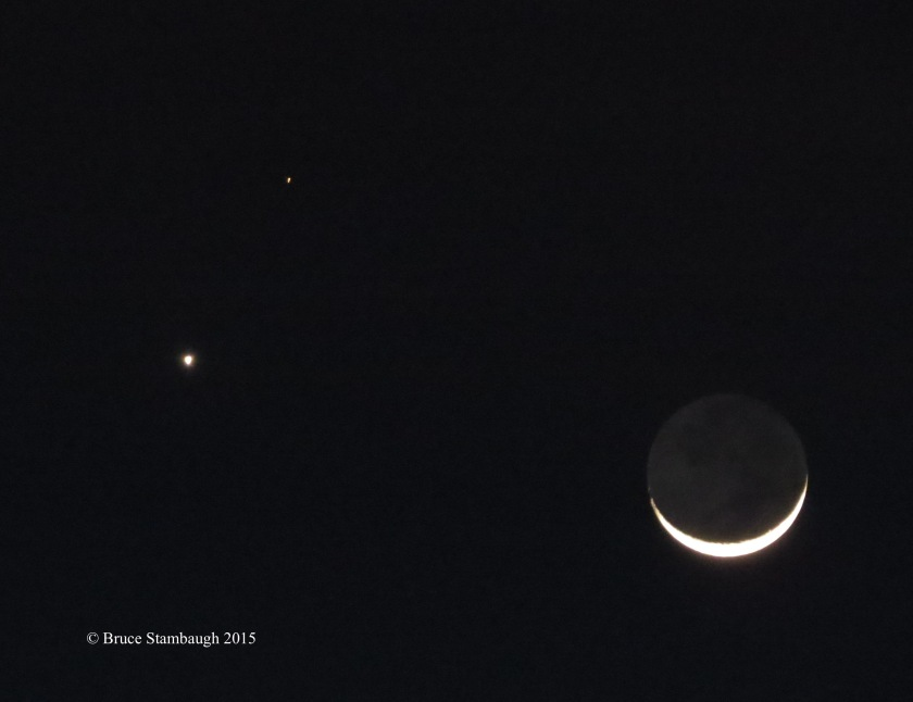 sliver moon, planets, night sky
