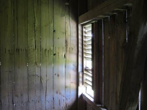 light streaming through barn