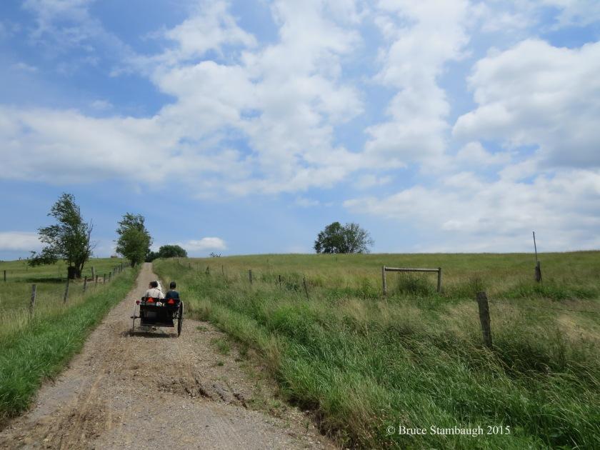 Amish girls, Amish cart, Ohio's Amish county