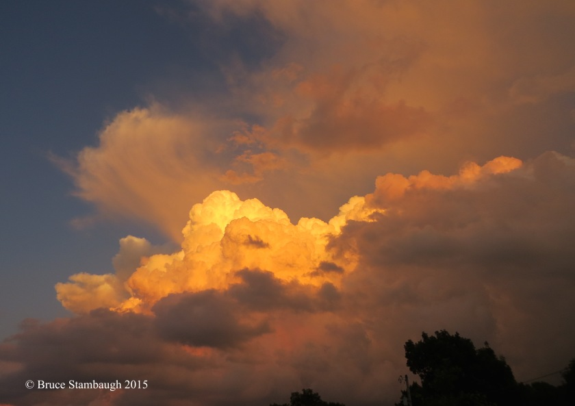 sunset, thunderstorm, cumulonimbus clouds