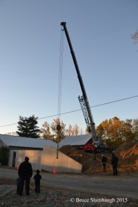 crane, moving a cement wall