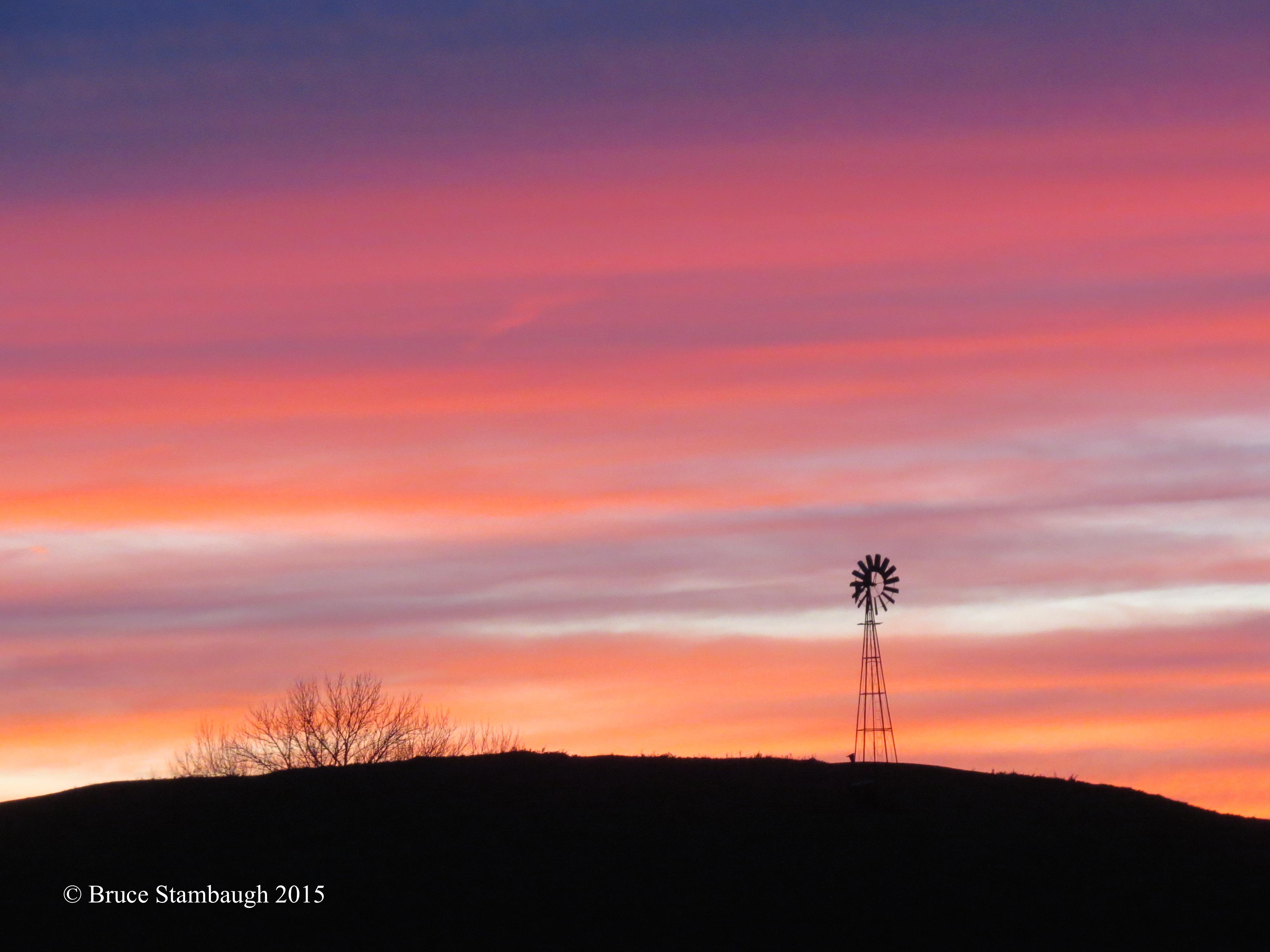 November sunset, windmill