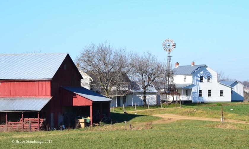 windmill shadow, Amish farmstead