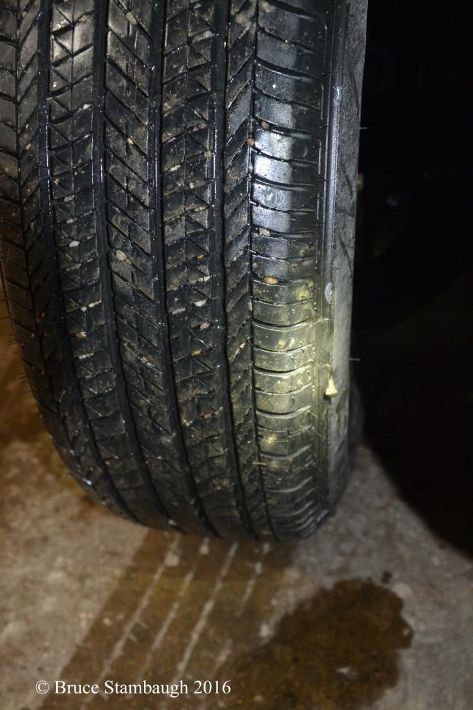 flat tire, horseshoe nail