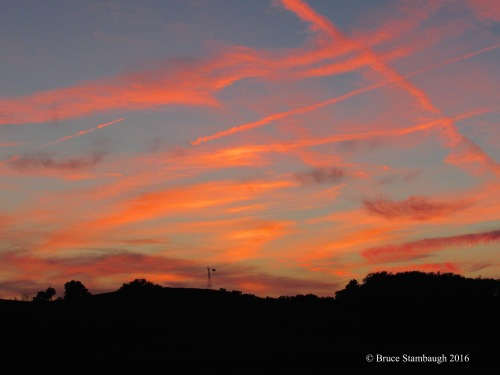 August sunset, Ohio's Amish Country, contrails