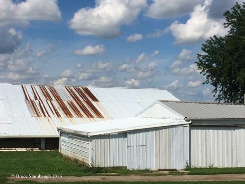 rusty roof, summer sky