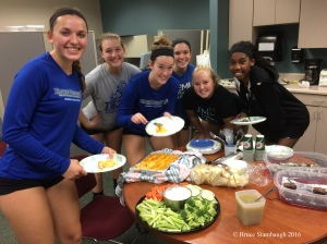 volleyball, home-cooked meal
