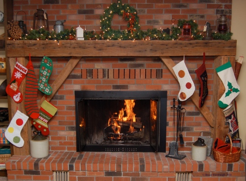 stockings hung by fireplace