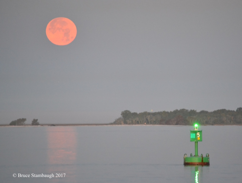 Amelia River, harbor light, full moon