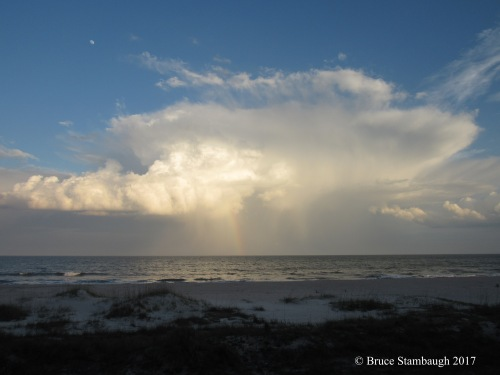 thunderstorm, Atlantic Ocean, rainbow