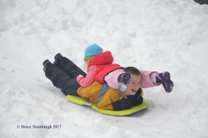 grandkids sled riding
