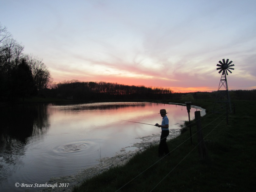 Amish farm pond, Amish boy fishing