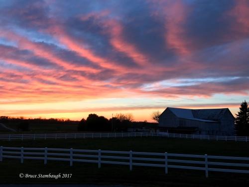 Ohio's Amish country, sunset over Amish farm