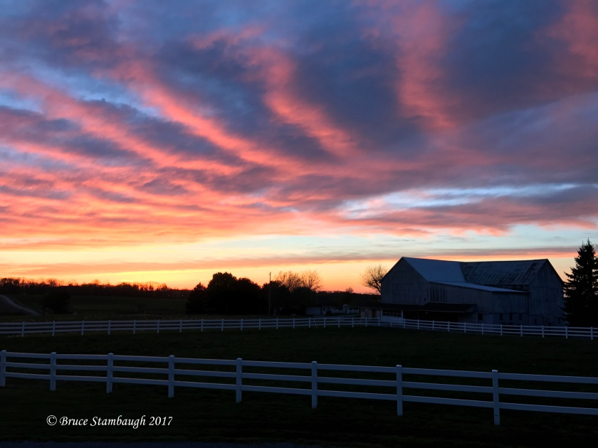 Ohio's Amish country, sunset over Amish farm