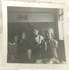 black and white photo of students
